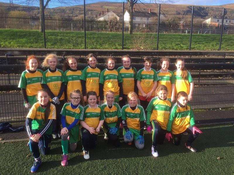 BPF Girls gaelic footballers before their league final against St Michaels Carryduff.jpg